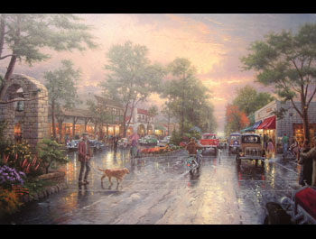 Thomas Kinkade - Carmel, Sunset on Ocean Avenue