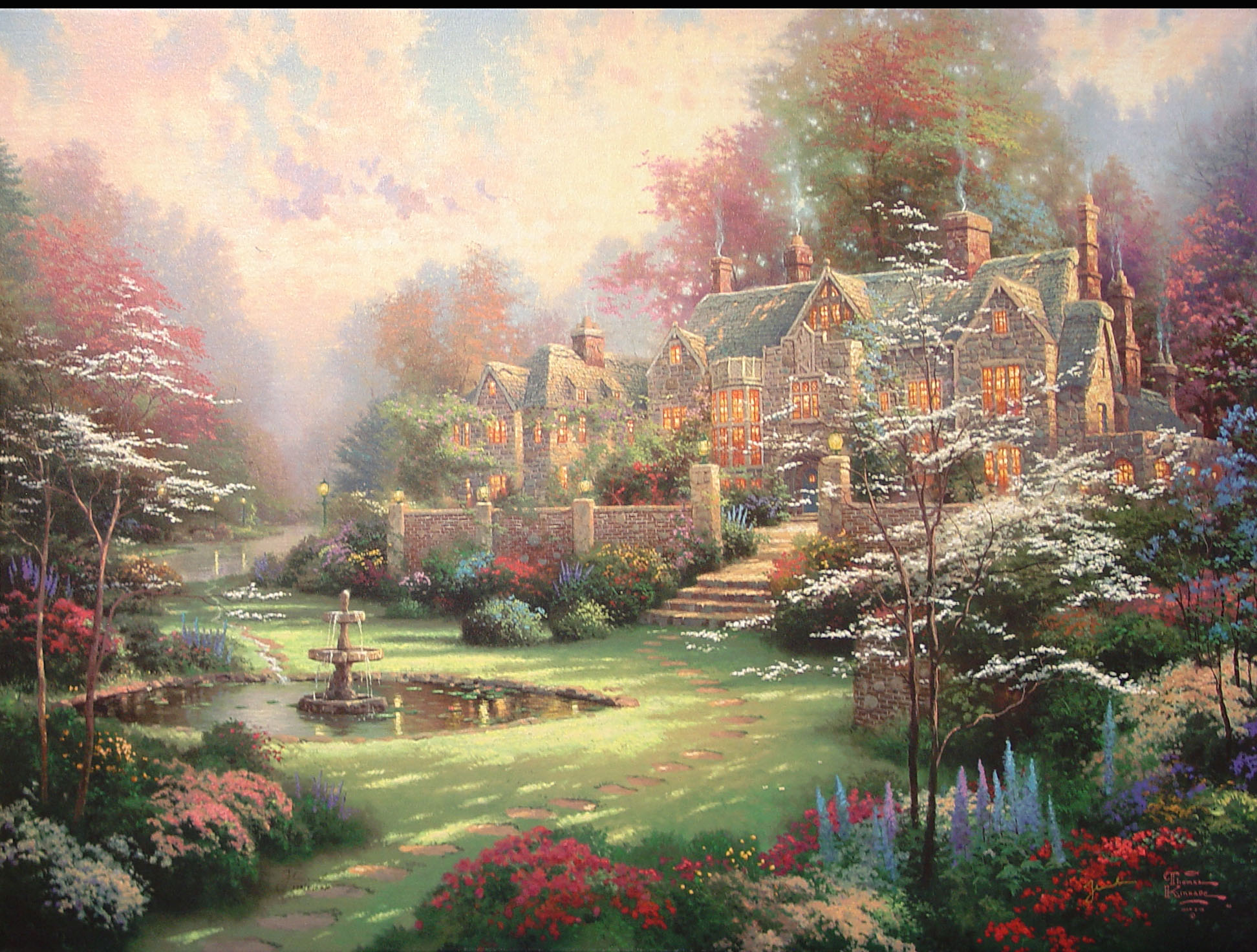 Thomas kinkade limited edition prints inspirational art for Garden painting images