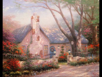 Thomas Kinkade - Morning Glory Cottage