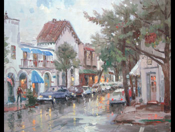 Thomas Kinkade - Rainy Day in Carmel