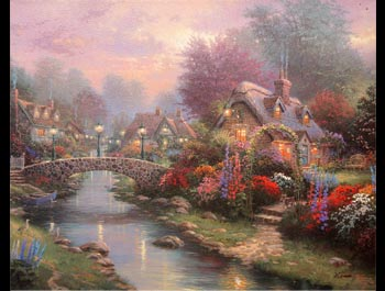 Thomas Kinkade - Lamplight Bridge